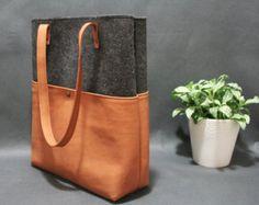 Bolsa de cuero bolso hecho a mano bolso de fieltro por AlmaMilano
