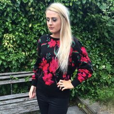 Vintage St Michael Jumper With Pink And Red Roses by FoxFowweather