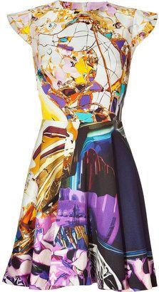 ShopStyle: Mary Katrantzou Multicolor Wallpaper Print Cap Sleeve Dress