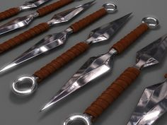 Awesome and pretty … Swords And Daggers, Knives And Swords, Rifles, Knife Throwing, Armas Ninja, Metal Bending, Ninja Weapons, Shuriken, Fantasy Weapons
