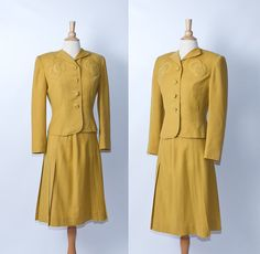 1940s Jaunty Junior Mustard Suit by Stop the Clock Vintage