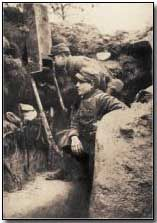 French soldiers in Alsace using a trench periscope