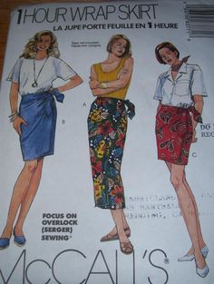 McCALL'S #6377 - LADIES FRONT-SIDE WRAP SARONG SKIRT (3 LENGTHS) PATTERN XS-XLuc #McCALLS