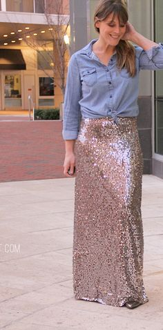 Make an easy sequin maxi skirt - fabric that blings.