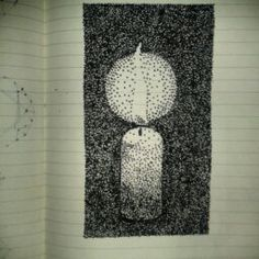 diffusion of light pointillism candle sketch exercise