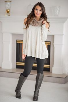 Autumn Affair Long Sleeve Cold Shoulder Ribbed Top (Taupe)
