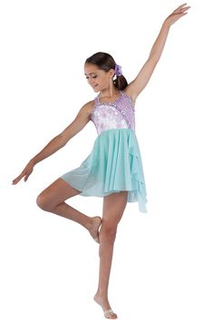 15459 Butterfly Kisses | Lyrical Contemporary Dance Costumes | Dansco 2015 | Lilac sequin on spandex, lilac/white rosette mesh, white spandex and mint spandex short unitard with attached mint glitter mesh skirt and drape. Lilac chiffon/sequin braid trim and straps.