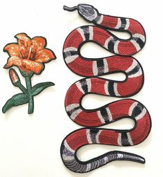 Snake with flower embroidered patch applique vintage by Laceshine