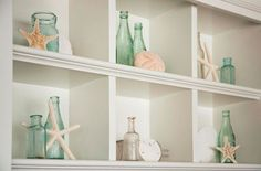 Starfish living room Decor | Starfish, sand dollars, and glass bottles... so simple yet so beach ...