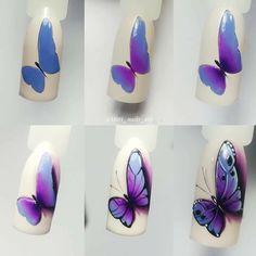 Art Deco Nails, Gel Nail Art, Nail Art Diy, Diy Nails, Nail Nail, Butterfly Nail Art, Flower Nail Art, Nail Swag, Animal Nail Art