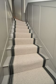 wool stair runners Bowloom wool carpet, fitted stair runners with Stripe P – Colour 2 binding tape – hallway Cottage Hallway, Warren House, Carpet Staircase, Iron Staircase, Country Interior Design, Cost Of Carpet, Small Hallways, Attic Remodel, Interior Stairs