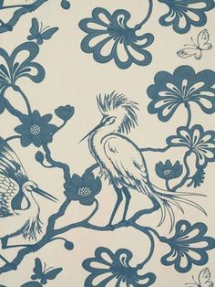 The Egrets from Florence Broadhurst via Signature Prints #fabric #cotton #blue