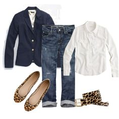 navy blazer, white shirt, boyfriend jeans & leopard flats - for casual work wear, you'd rock this! Style Casual, Work Casual, Casual Chic, Casual Styles, Smart Casual, Mode Outfits, Fashion Outfits, Womens Fashion, Swag Fashion
