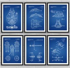 Star Wars 6 pack, Millennium Falcon, Tie Bomber, X-wing, AT-AT, Star Wars Poster, Star Wars Patent, Millennium Falcon Star Wars Print by STANLEYprintHOUSE  18.00 USD  This is a 6 pack set of star wars related patents.  We use only top quality archival inks and heavyweight matte fine art papers and high end printers to produce a stunning quality print that's made to last.  Any of these posters will make a great affordable gift, or tie any room tog ..  https://www.etsy.com/ca/listing..