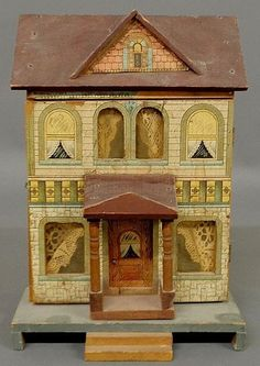Dollhouse | Bliss Lithographed Paper on Wood 2-Story Front .....Rick Maccione-Dollhouse Builder www.dollhousemansions.com
