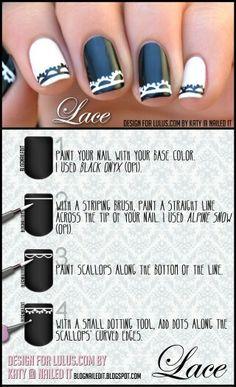 65 Ideas For French Manicure Designs Lace White Nails Nail Art Blog, Nail Art Diy, Diy Nails, Nail Swag, French Manicure Designs, Nail Designs, Nails Decoradas, Lace Art, Lace Nails