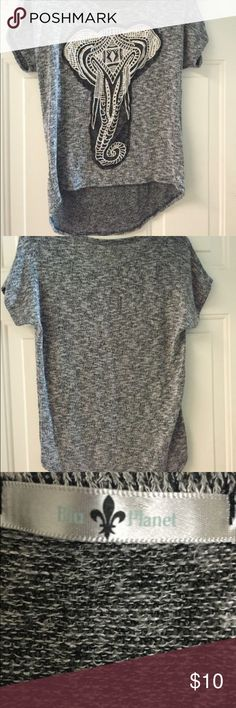 Grey Elephant tee Cute top with a sheer elephant print on the front, super comfortable, loose fitting which I personally prefer. Hi-low design. Great condition! Blu Planet  Tops Tees - Short Sleeve