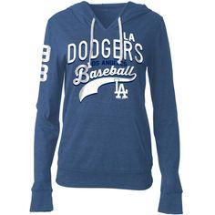 L.A. Dodgers 5th & Ocean by New Era Women's Tri-Blend Jersey Hoodie - Royal