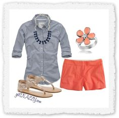 """""""Navy Stripe & Coral"""" by getsnazzy on Polyvore"""