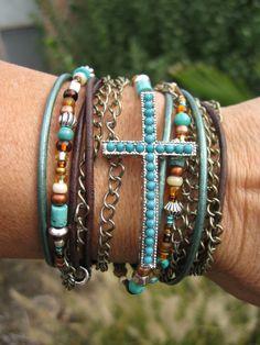 Boho++Mahogany++Endless+Leather+Wrap+Bracelet+by+fleurdesignz,+$45.00