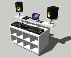 DIY Professional DJ Booth from IKEA Parts: Guide 1 Best way to get a Professional DJ Booth without the high cost. Special thanks to djforums and djtechtools . Home Studio Musik, Studio Desk, Studio Room, Studio Setup, Vinyl Storage, Record Storage, Table Dj, Turntable Setup, Dj Stand