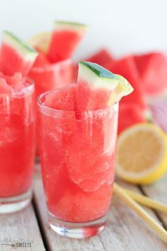 An easy two ingredient recipe combining frozen watermelon and lemonade for a delicious frozen beverage!
