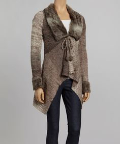 Take a look at this Nicole Sabbattini Brown Faux Fur Wool-Blend Cardigan on zulily today!