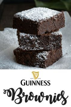 We think that fudgy chocolate brownies infused with Guinness are the perfect St. They are O'-so-delicious! Chocolate Stout Cake, Guinness Chocolate, Chocolate Brownies, Irish Desserts, Irish Recipes, Just Desserts, Fancy Desserts, Asian Desserts, Guinness Recipes