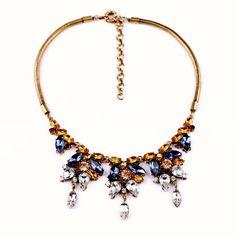 "NEW Blue & Gold Crystal Statement Bib Necklace Women's Party Dress 18.5"" US #StatementClusterPendantBib"