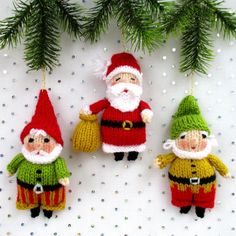 SANTA and his ELVES are easy to knit. It is great fun making each character different by varying the colour, clothes, beard and curly whiskers. Measuring just 12cm (5in), they make perfect Christmas decorations.