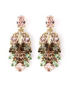 Pink and Green Crystal Leaf Motif Drop Earrings by Anton Heunis