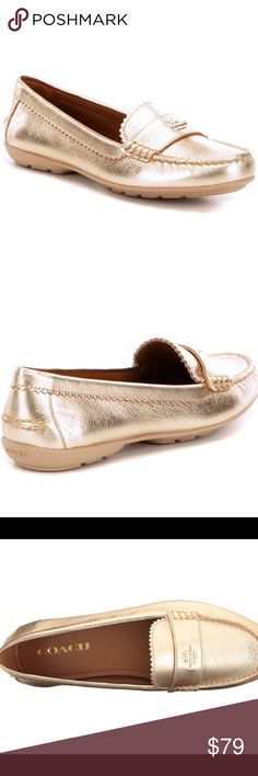 Coach Odette Metallic Loafer Moccasin Size 7 NWT comes with original box and care manual. Never been worn just tried on in store. Gold metallic color and coach emblem on front of loafer. Rubber sole. Perfect for spring. No trades, offers welcome. Coach Shoes Flats & Loafers