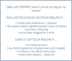 should you include your blog on your resume?