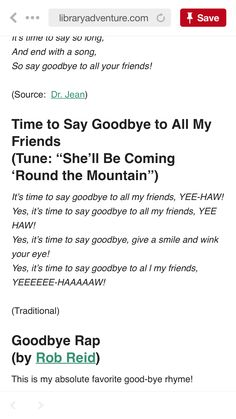 Time to say goodbye to all our friends Goodbye Songs For Preschool, Preschool Songs, Closing Circle, Transition Songs, Circle Time Songs, Leaving School, Toddler Class, Saying Goodbye, My Friend