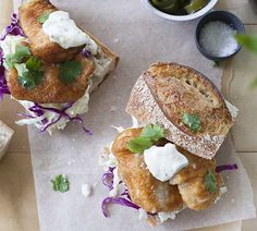 Hundreds of quick and easy recipes created by Annabel and her online community. Po Boy Sandwich, Fish Sandwich, Fish Recipes, Seafood Recipes, Cooking Recipes, Recipies, Food Out, Good Food, Yummy Food