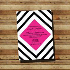 Black & Pink Diamond Wedding Invitation (digital file)