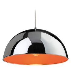 Firstlight Bistro Pendant with Chrome Finish and Orange Inside Shade - Kitchen Lighting from Dusk Lighting UK