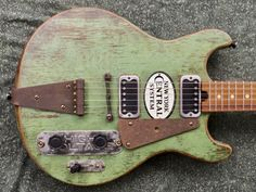 Custom electric guitars and basses made from local and salvaged materials Cigar Box Guitar, Music Guitar, Guitar Amp, Cool Guitar, Art Music, Custom Electric Guitars, Custom Guitars, Unique Guitars, Vintage Guitars