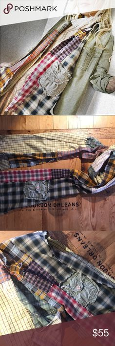 """Upcycled multi-plaid scarf // Strangers Again Upcycled by myself from shirts. Usual disclaimer I'm not a seamstress and don't aim for perfection when upcycling things -- please only purchase if that is acceptable to you. Intentionally fraying seams. Approx 90"""" long and its name is Strangers Again upcycled Accessories Scarves & Wraps"""