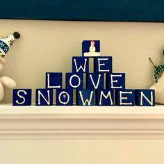 We love Snowmen blocks Creative Crafts, Diy And Crafts, Christmas Snowman, Christmas Crafts, Doddle Art, Snow Men, Winter Ideas, Wood Blocks, Wood Signs