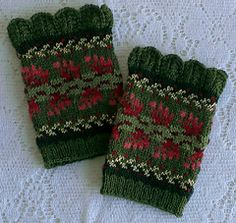 Ravelry: Wintertide Wristwarmers pattern by Karen Porter Crochet Mittens, Knitted Gloves, Knitting Socks, Knit Crochet, Fair Isle Knitting Patterns, Fingerless Mitts, Wrist Warmers, Knitting Accessories, Yarn Crafts