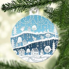 Paper Cut Illustration Christmas Tree Ornament by Sarah Trumbauer - included in a recap of paper-themed holiday gifts. #treeornament #papercutting #Christmasornament #SarahTrumbauer
