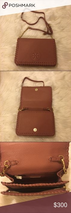 """Tory Burch Marion Combo Crossbody NWOT BRAND NEW NEVER USED Tory Burch Marion Combo CrossBody in Maple sugar!  DETAILS: * Holds a small wallet, a phone, lipstick and a makeup compact * Flap with magnetic snap closure * Adjustable, removable cross-body strap with 23""""  drop * 1 exterior zipper pocket under flap * 1 interior zipper pocket,2open pockets * Height: 5.98""""  * Length: 8.61""""  * Depth: 2.51""""  * Pebbled leather No trades. No Lowballing. 100% authentic items. Tory Burch Bags Crossbody…"""