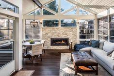 Three Season Porch, Three Season Room, Folding Patio Doors, Four Seasons Room, Room Additions, Fireplace Design, Building Design, Custom Homes, Family Room