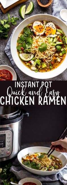 Pot Easy Chicken Ramen This Instant Pot Chicken Ramen makes a delicious and flavorful ramen in about half an hour in your electric pressure cooker! Healthy Instant Pot Recipe for busy families :)Healthy Living Healthy Living may refer to: New Recipes, Soup Recipes, Chicken Recipes, Cooking Recipes, Healthy Recipes, Recipe Chicken, Easy Ramen Recipes, Healthy Ramen, Best Ramen Recipe