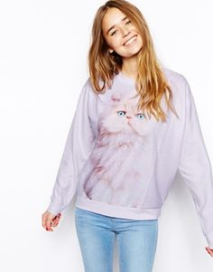 ASOS Sweatshirt in Fluffy Fabric with Kitten Print (Asos seems to have everything for that complete crazy cat lady look)