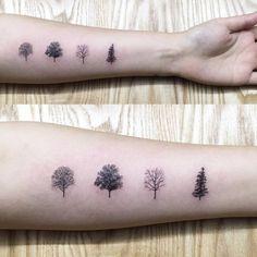 Calendar season tree tattoos: spring, summer, fall and winter. Tattoo Artist…
