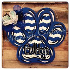 paw print paw door hanger door hanger team by DoorCreationsbyJess Painted Doors, Wooden Doors, Wooden Art, Cheer Spirit, Football Spirit, Locker Decorations, Basketball Decorations, Cheer Mom, Cheer Gifts