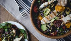 Chicken, Aubergine and Avocado Salad with Udo's Oil Blend