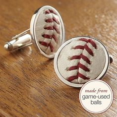 Cuff links made from game-used balls. A classy and subtle way to incorporate baseball into the big day!